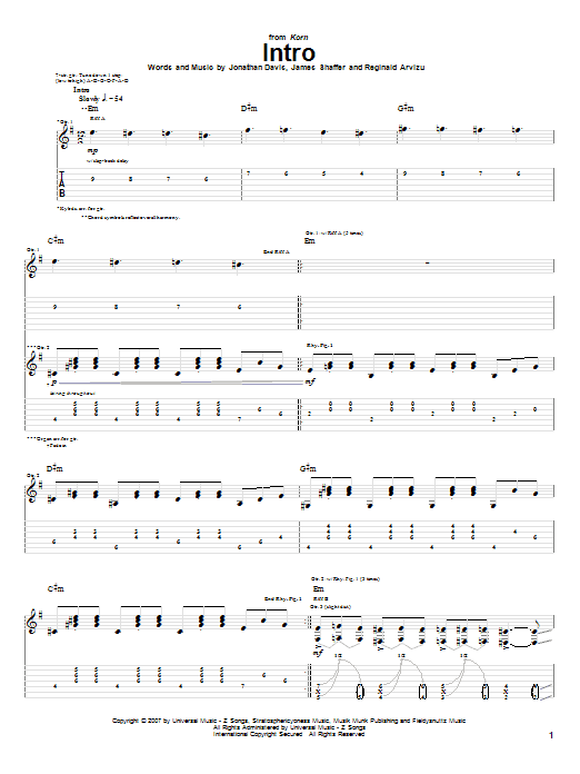 Intro sheet music for guitar solo (tablature) by Reginald Arvizu