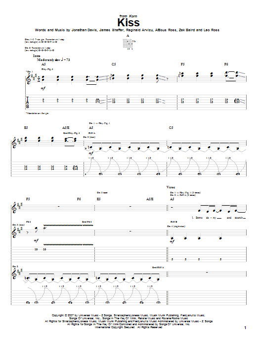 Kiss sheet music for guitar solo (tablature) by Zak Baird