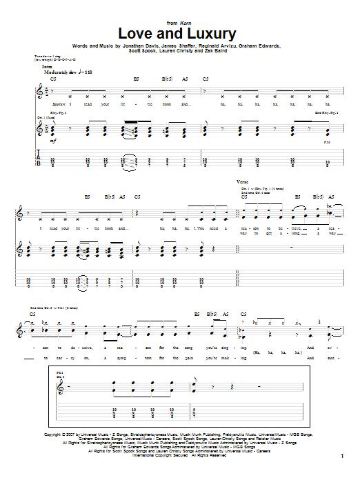 Tablature guitare Love And Luxury de Korn - Tablature Guitare