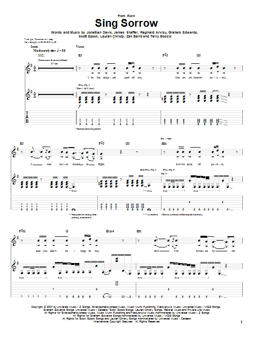 Tablature guitare Sing Sorrow de Korn - Tablature Guitare