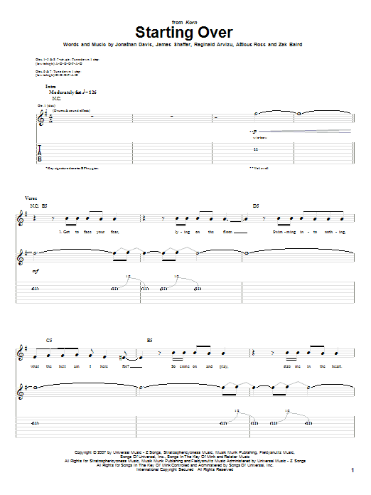 Tablature guitare Starting Over de Korn - Tablature Guitare