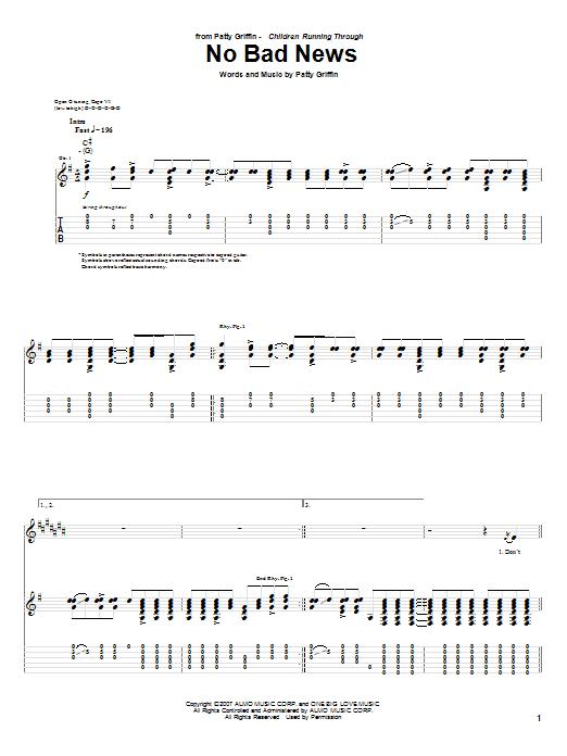 Tablature guitare No Bad News de Patty Griffin - Tablature Guitare