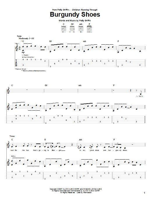 Tablature guitare Burgundy Shoes de Patty Griffin - Tablature Guitare