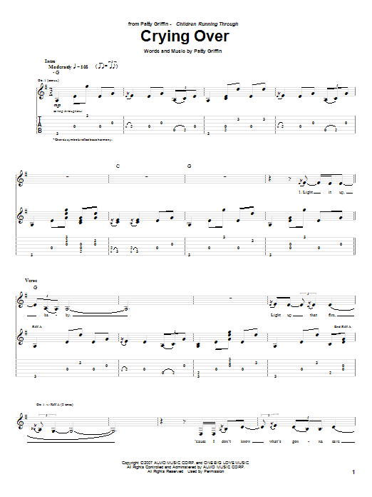 Tablature guitare Crying Over de Patty Griffin - Tablature Guitare