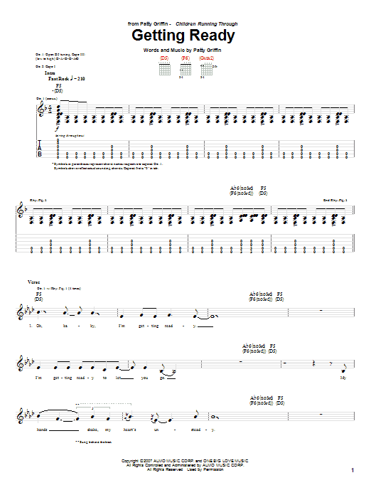 Tablature guitare Getting Ready de Patty Griffin - Tablature Guitare