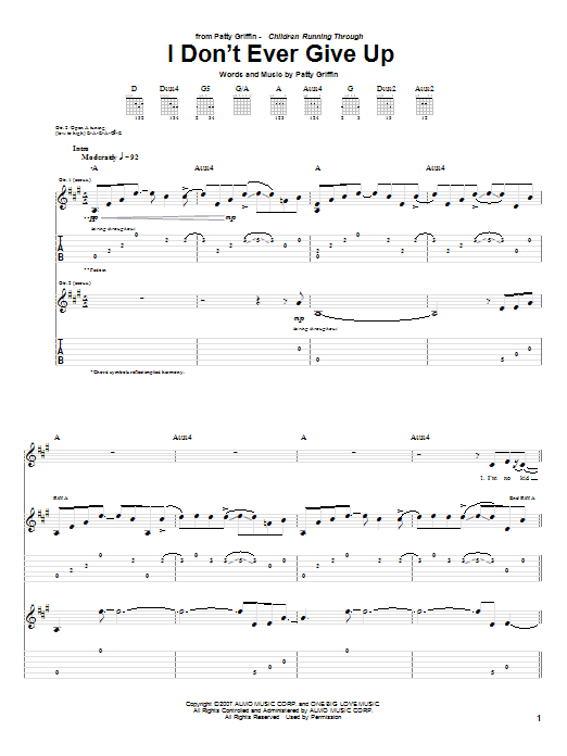 Tablature guitare I Don't Ever Give Up de Patty Griffin - Tablature Guitare