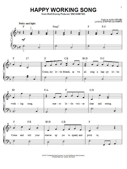 Partition piano Happy Working Song de Amy Adams - Piano Facile