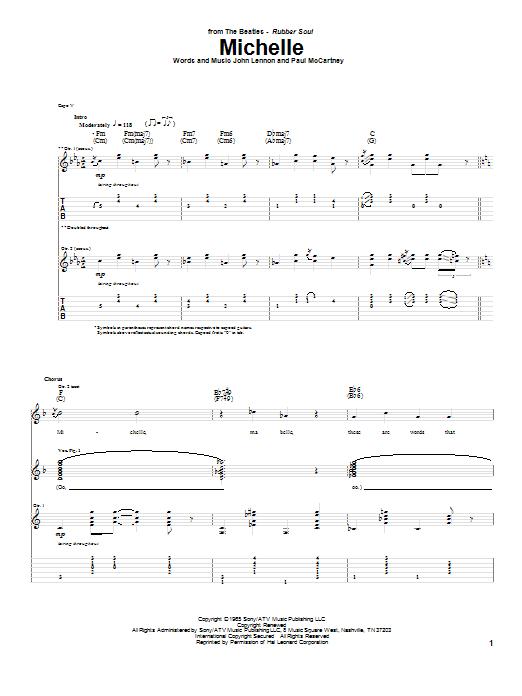 Tablature guitare Michelle de The Beatles - Tablature Guitare