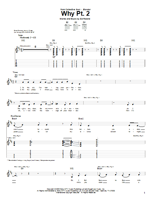 Tablature guitare Why Pt. 2 de Collective Soul - Tablature Guitare