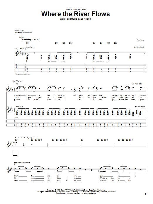 Where The River Flows sheet music for guitar solo (tablature) by Ed Roland