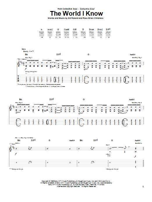 Tablature guitare The World I Know de Collective Soul - Tablature Guitare