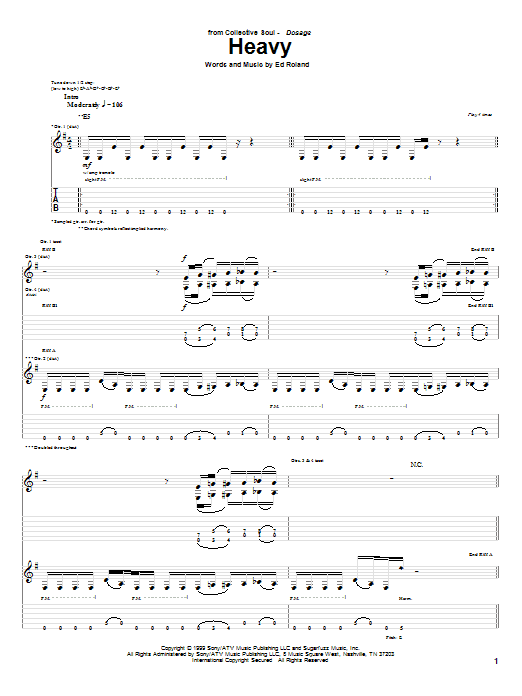 Tablature guitare Heavy de Collective Soul - Tablature Guitare