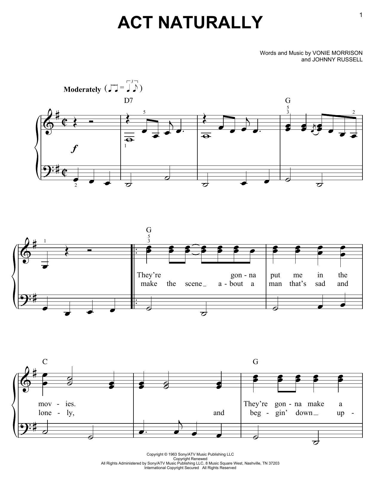 Act Naturally sheet music for piano solo (chords) by Vonie Morrison