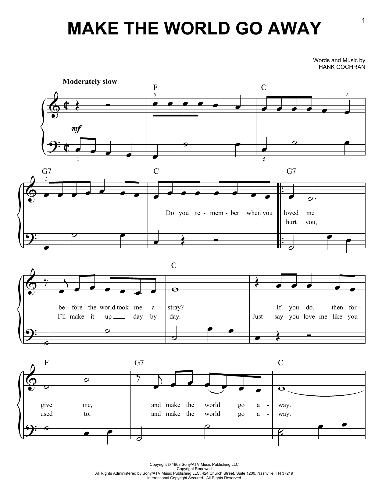 Make The World Go Away sheet music for piano solo (chords) by Hank Cochran