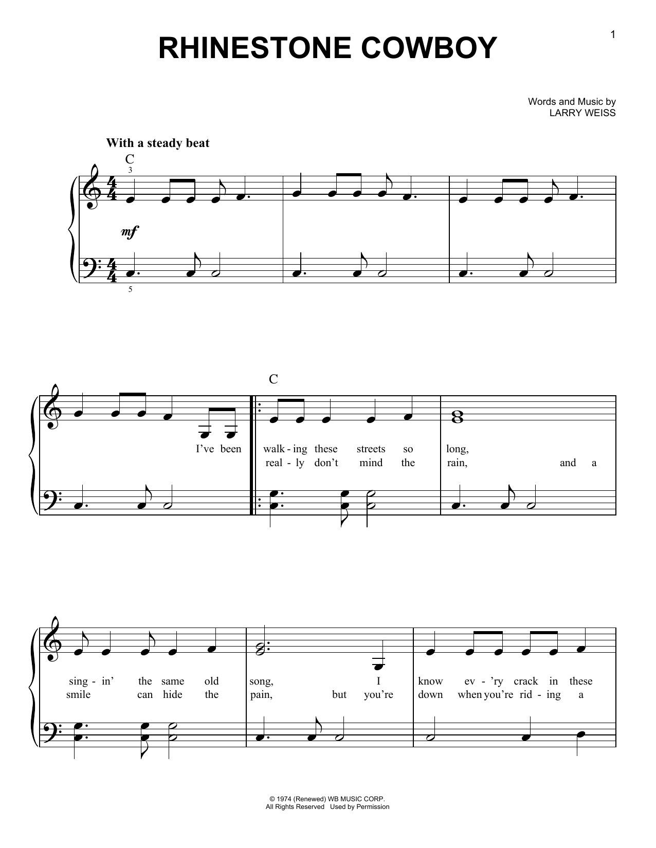 Partition piano Rhinestone Cowboy de Glen Campbell - Piano Facile
