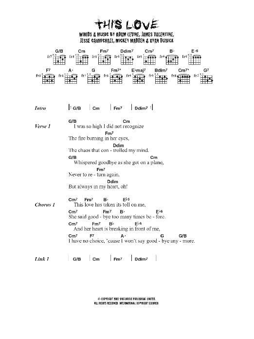 This Love sheet music for guitar solo (chords, lyrics, melody) by Adam Levine