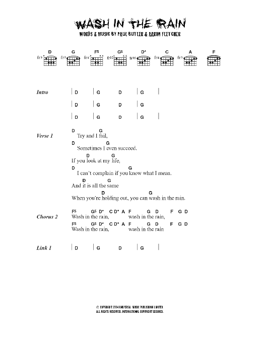 Wash In The Rain sheet music for guitar solo (chords, lyrics, melody) by Aaron Fletcher