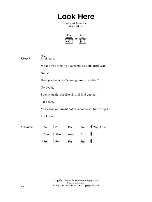 Look Here sheet music for guitar solo (chords, lyrics, melody) by Mose Allison