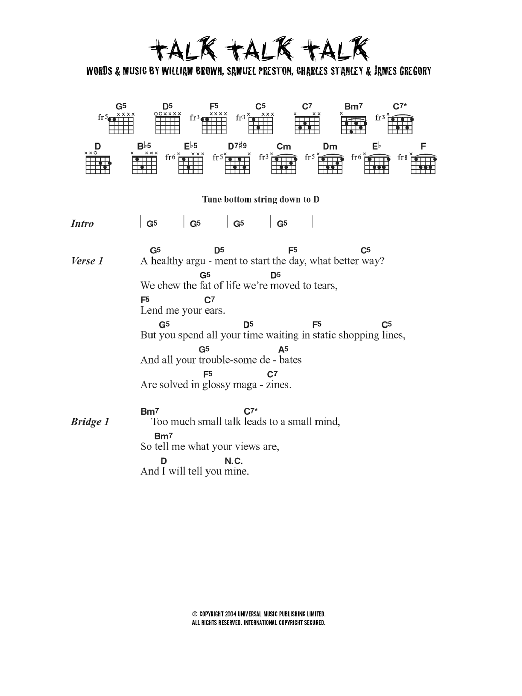 Talk Talk Talk sheet music for guitar solo (chords, lyrics, melody) by Charles Stanley