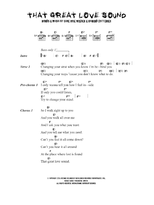 That Great Love Sound sheet music for guitar solo (chords, lyrics, melody) by Richard Gottehrer