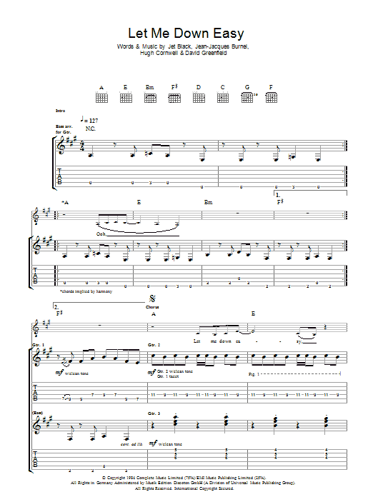Let Me Down Easy sheet music for guitar solo (tablature) by David Greenfield