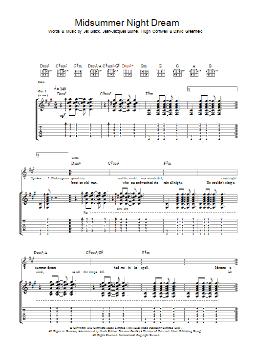 Midnight Summer Dream sheet music for guitar solo (tablature) by David Greenfield