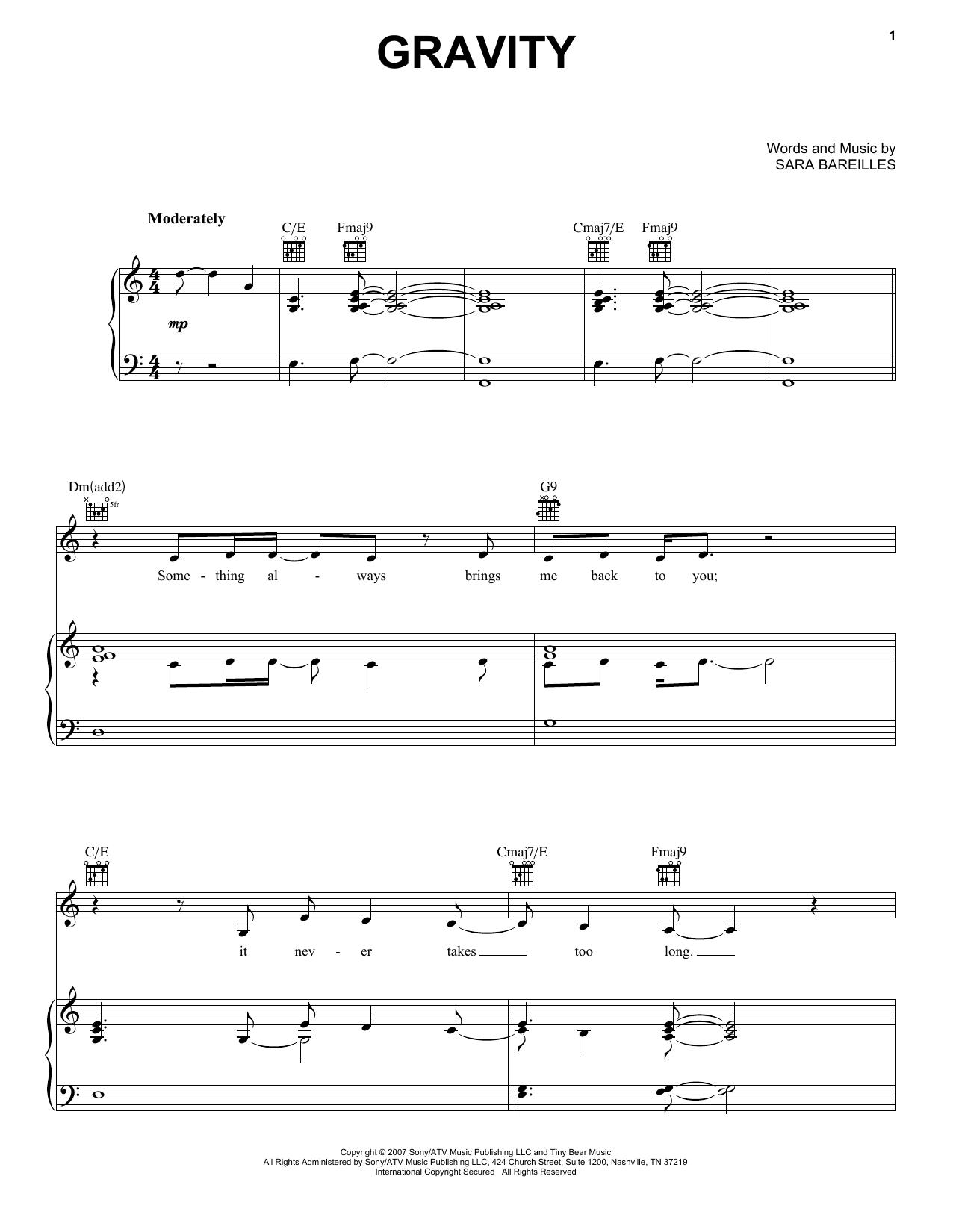 Partition piano Gravity de Sara Bareilles - Piano Voix Guitare (Mélodie Main Droite)