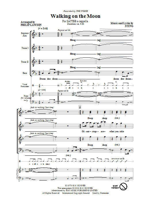 Partition chorale Walking On The Moon de The Police - SATB