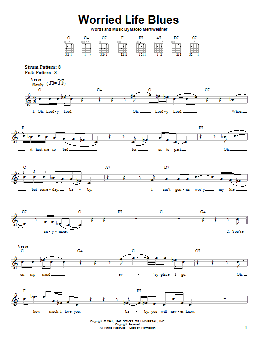 Tablature guitare Worried Life Blues de Eric Clapton - Tablature guitare facile