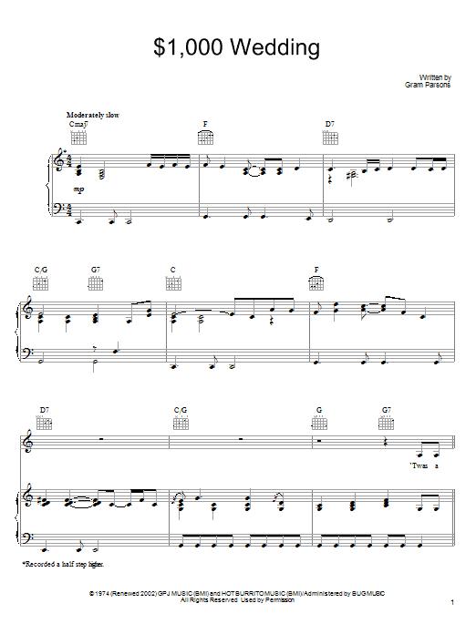Partition piano $1,000 Wedding de Gram Parsons - Piano Voix Guitare (Mélodie Main Droite)