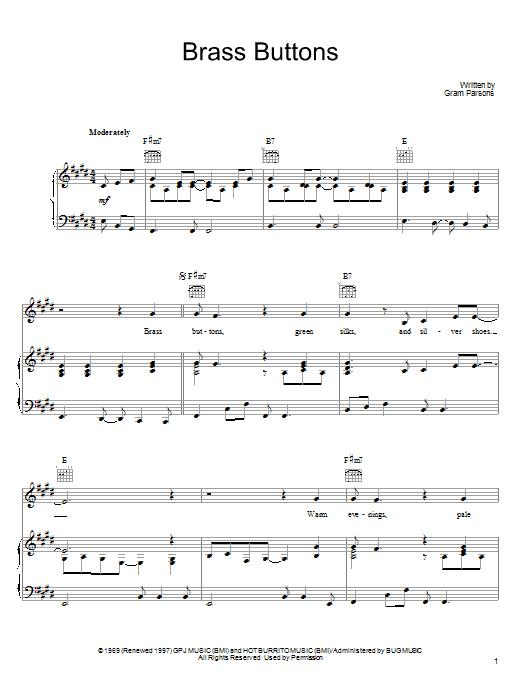 Partition piano Brass Buttons de Gram Parsons - Piano Voix Guitare (Mélodie Main Droite)