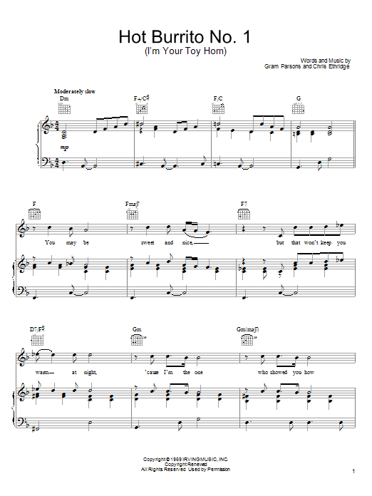Hot Burrito No. 1 (I'm Your Toy Horn) sheet music for voice, piano or guitar by Chris Ethridge