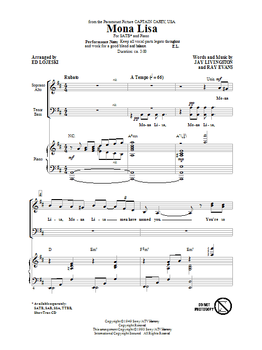 Partition chorale Mona Lisa de Nat King Cole - SATB