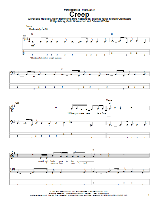 Creep sheet music for bass (tablature) (bass guitar) by Thom Yorke