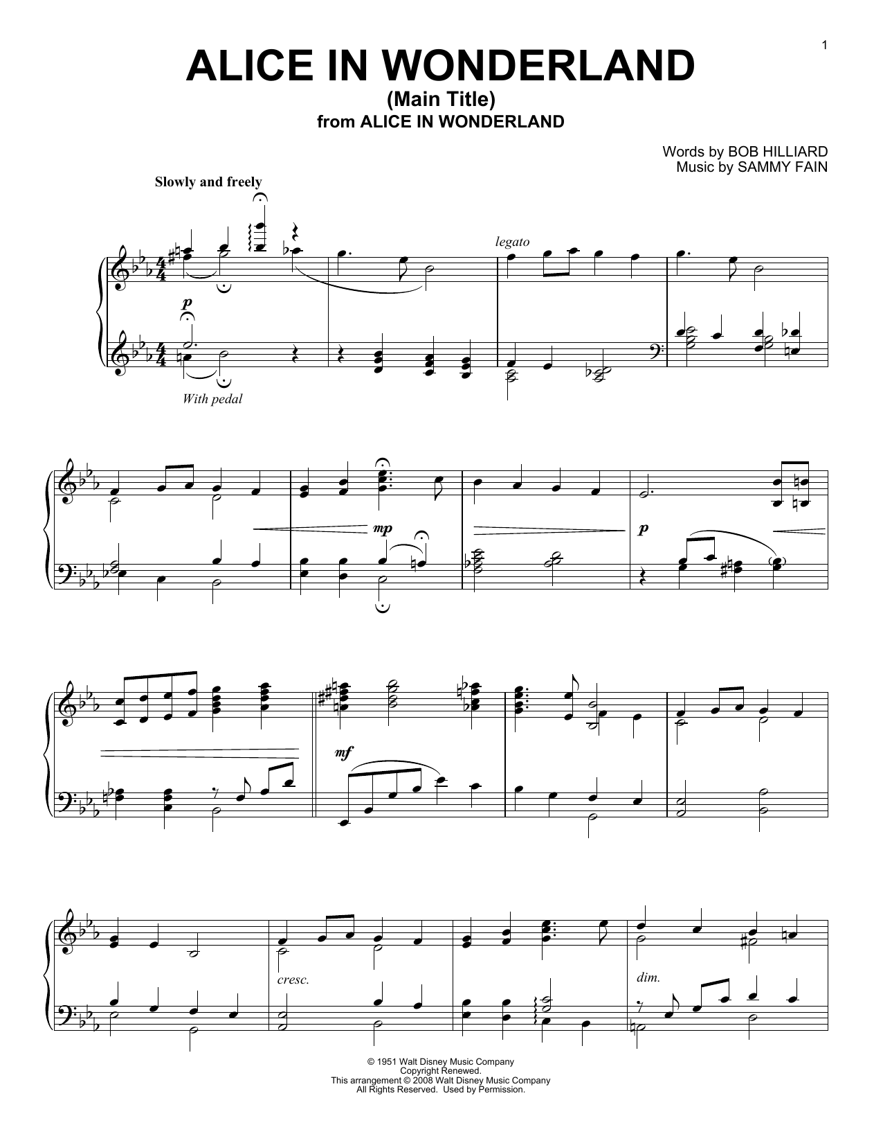 Alice In Wonderland sheet music for piano solo by Sammy Fain