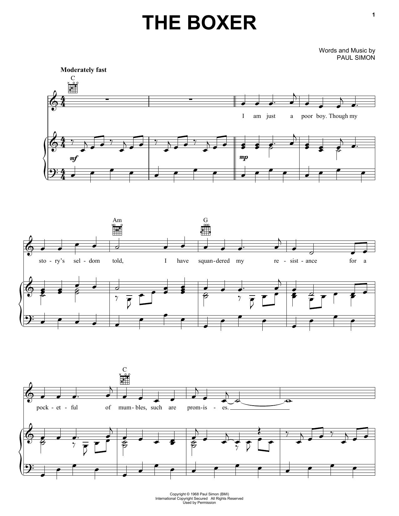 Partition piano The Boxer de Simon & Garfunkel - Piano Voix Guitare (Mélodie Main Droite)