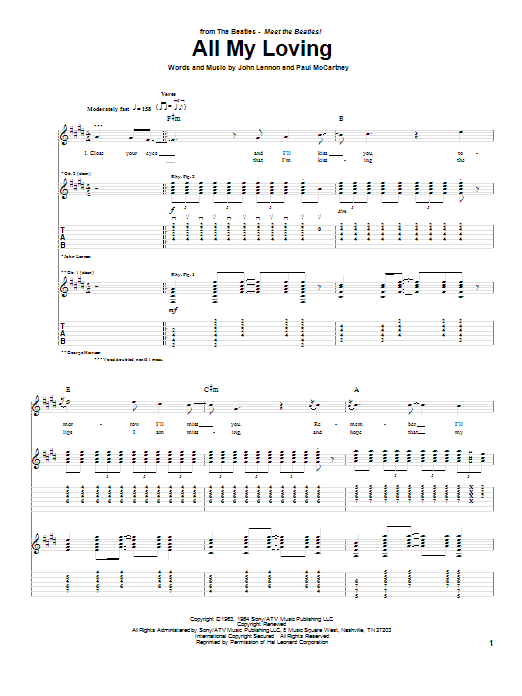 Tablature guitare All My Loving de The Beatles - Tablature Guitare