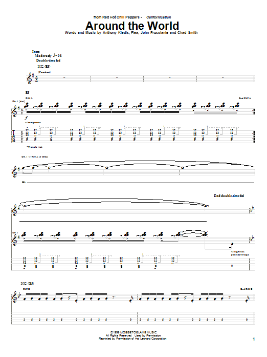Tablature guitare Around The World de Red Hot Chili Peppers - Tablature Guitare