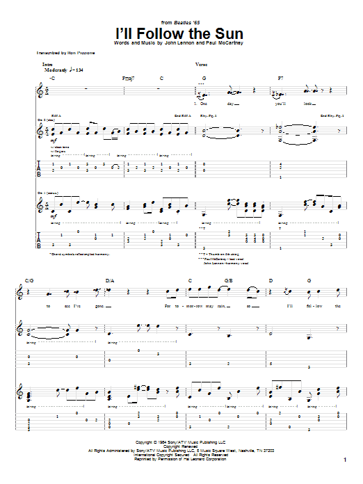 Tablature guitare I'll Follow The Sun de The Beatles - Tablature Guitare