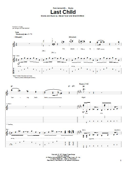 Tablature guitare Last Child de Aerosmith - Tablature Guitare