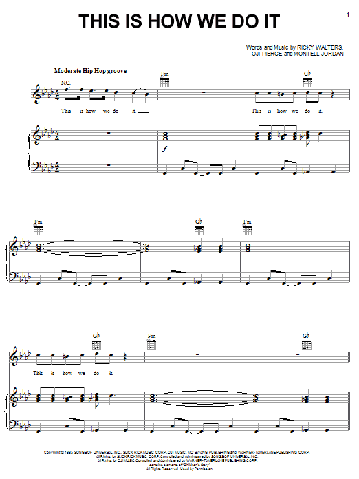 This Is How We Do It sheet music for voice, piano or guitar by Ricky Walters