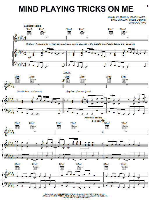 Mind Playing Tricks On Me sheet music for voice, piano or guitar by Willie Dennis