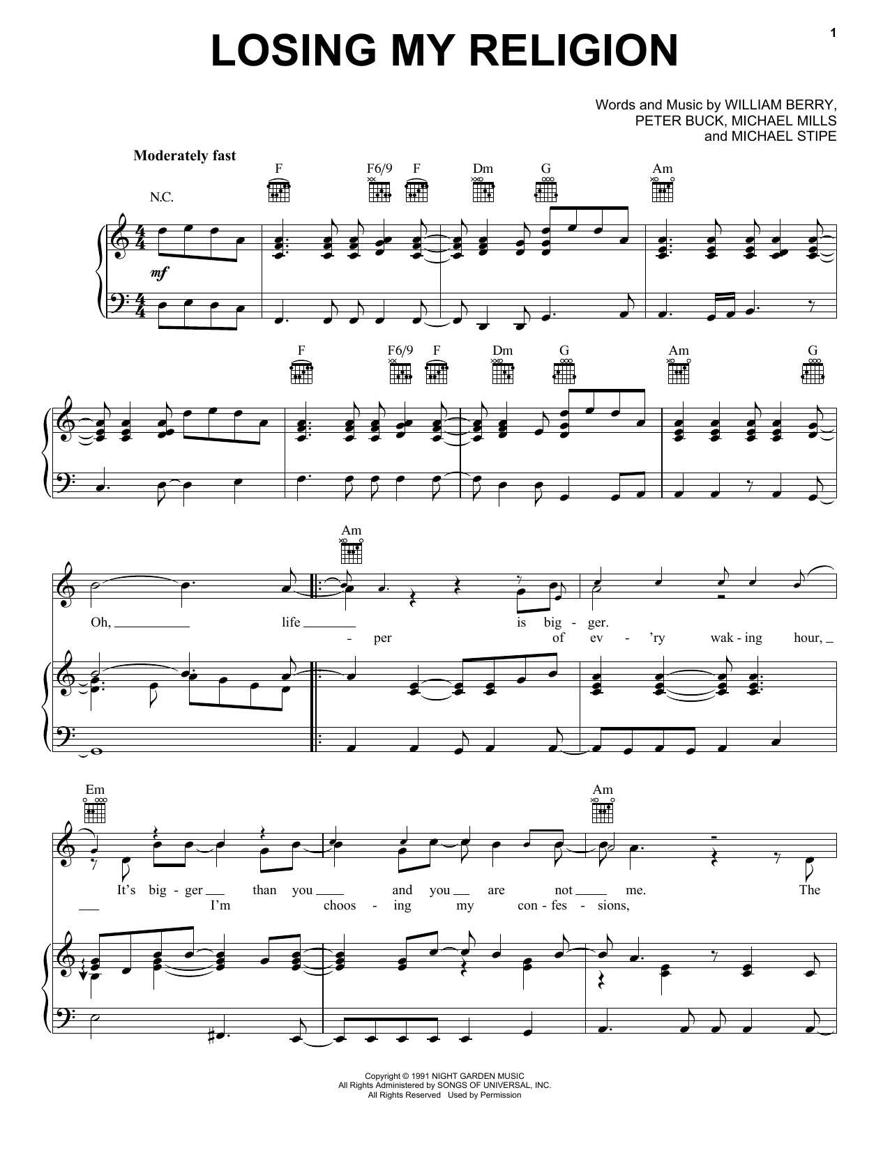 Losing My Religion sheet music by R.E.M. (Piano, Vocal u0026 Guitar (Right-Hand Melody) u2013 64532)