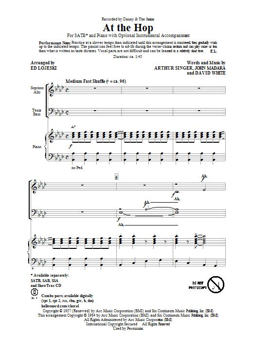 Partition chorale At The Hop de Danny & The Juniors - SATB