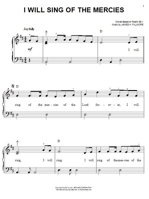Partition piano I Will Sing Of The Mercies de James H. Fillmore - Piano Facile