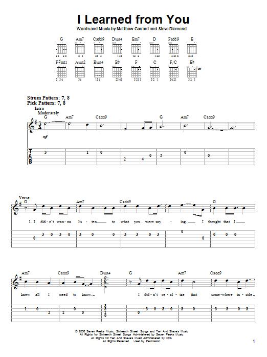 Tablature guitare I Learned From You de Miley Cyrus - Tablature guitare facile