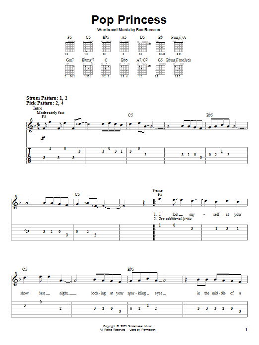 Tablature guitare Pop Princess de The Click Five - Tablature guitare facile