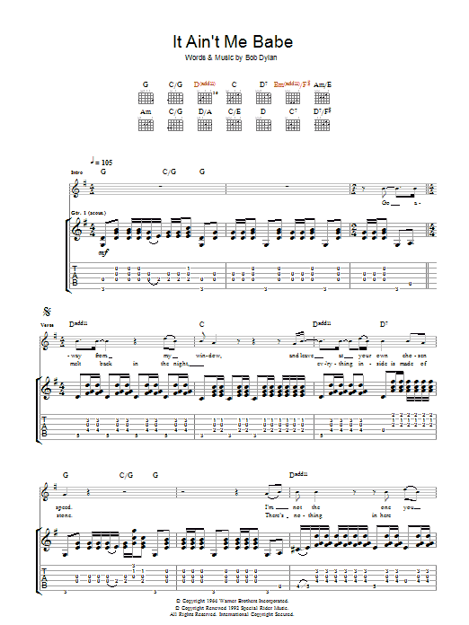 it aint me babe guitar tabs № 277264