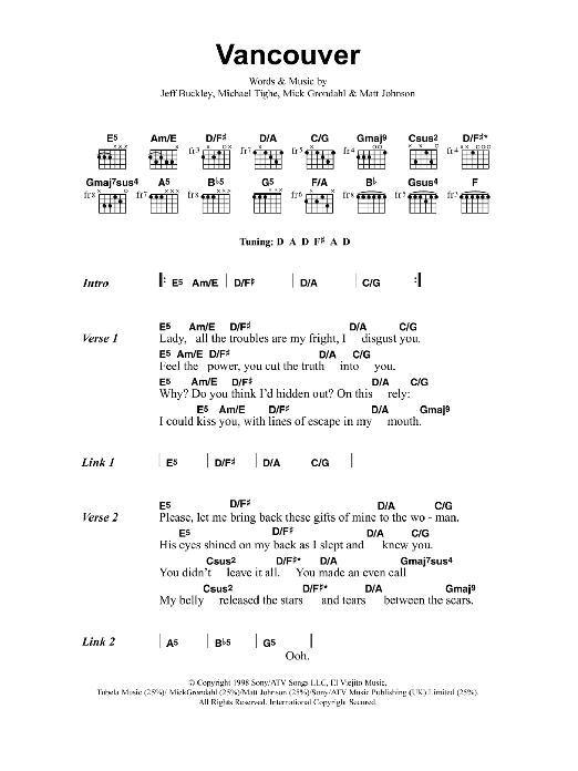 Vancouver sheet music for guitar solo (chords, lyrics, melody) by Matt Johnson