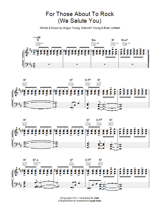 For Those About To Rock (We Salute You) sheet music for voice, piano or guitar by Malcolm Young